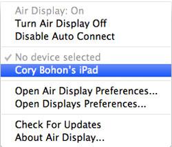 V Air Display menu vyberte váš iPad