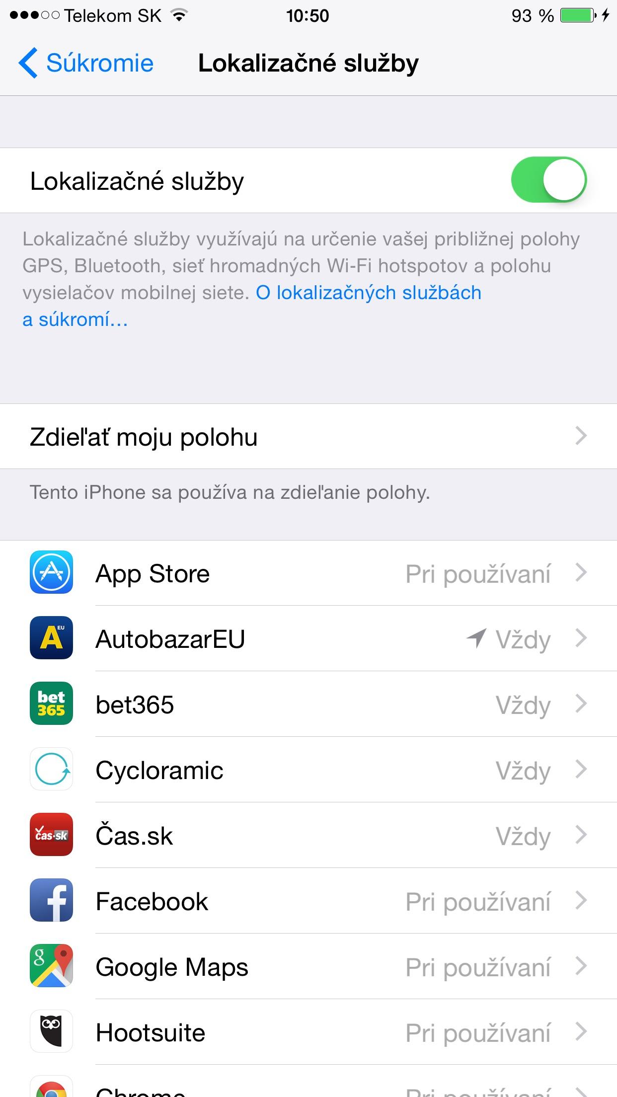 Lokalizačné služby - svetapple.sk