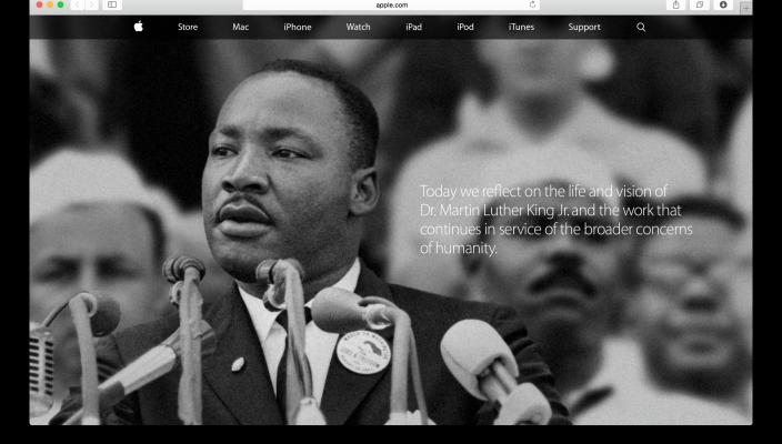 Martin Luther king na oficiálnych stránkach Apple.com - svetapple.sk