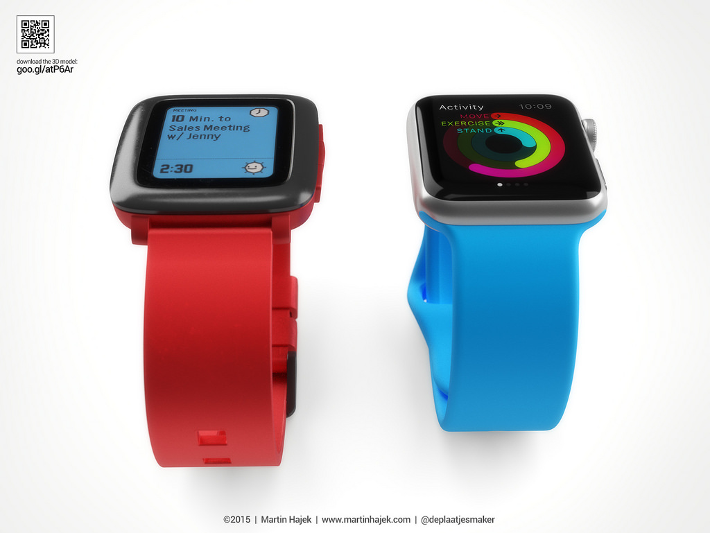 Pebble Time vs. Apple Watch - svetapple.sk