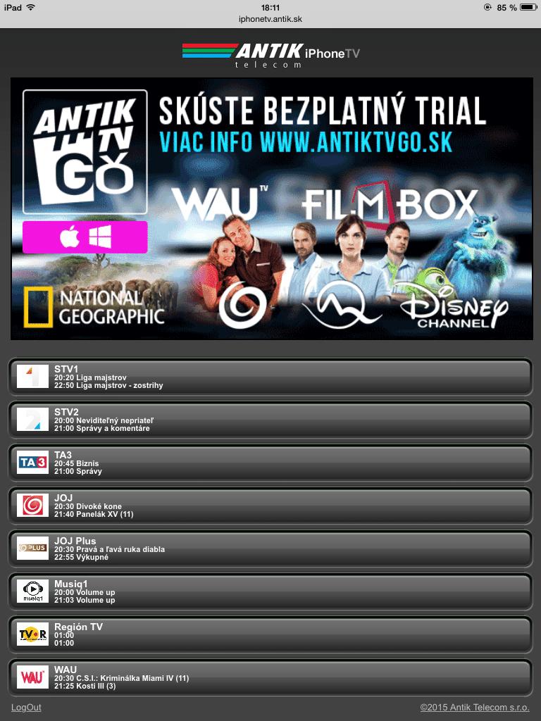 Zoznam staníc na AntikTV - Svetapple.sk