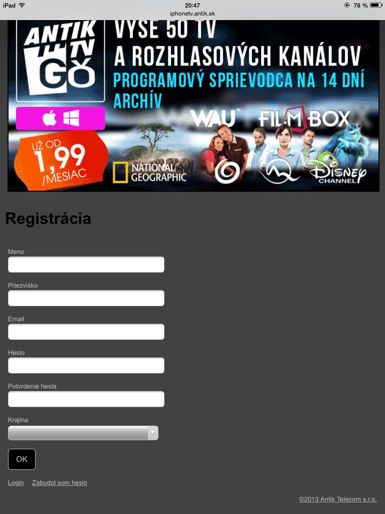 Registrácia na AntikTV - Svetapple.sk