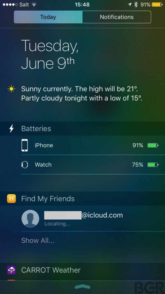 ios-9-battery-indicator-today-view-find-my-friends