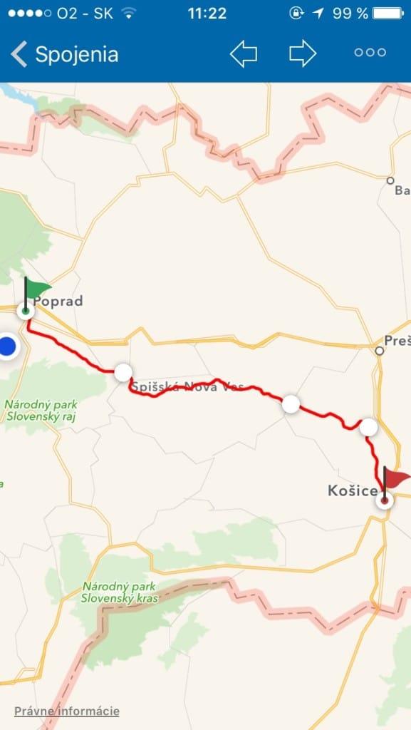 Zobrazenie spoja na mape -- Svetapple.sk