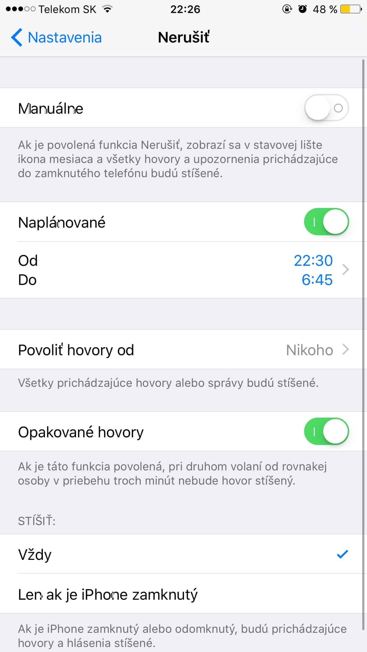 Režime nerušiť - iPhone