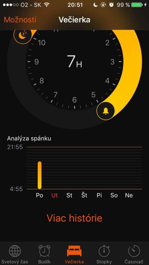 Zobrazenie Analýzy spánku vo Večierke