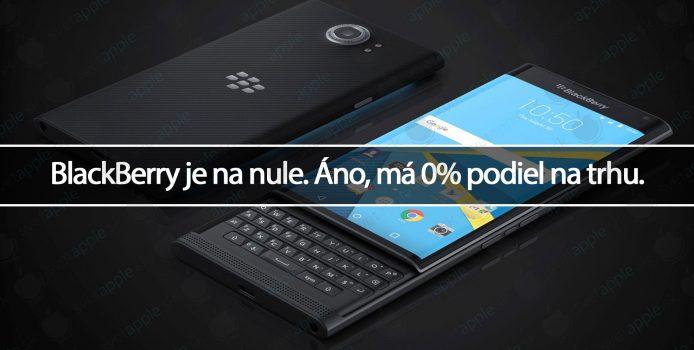 BlackBerry je na nule. Áno, má 0% podiel na trhu.