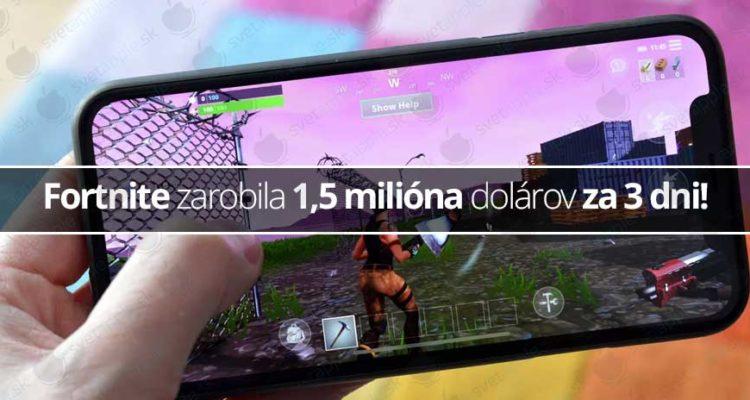 Fortnite zarobila 1,5 milióna dolárov za 3 dni!
