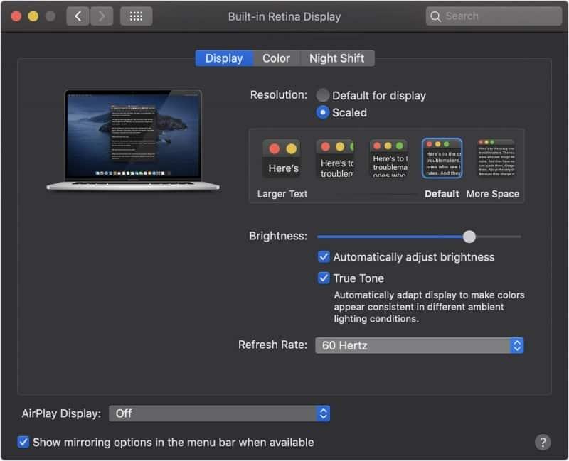 """MacBook Pro 16"""" ponúka možnosť nastavenia obnovovacej frekvencie (Hz) displeja."""