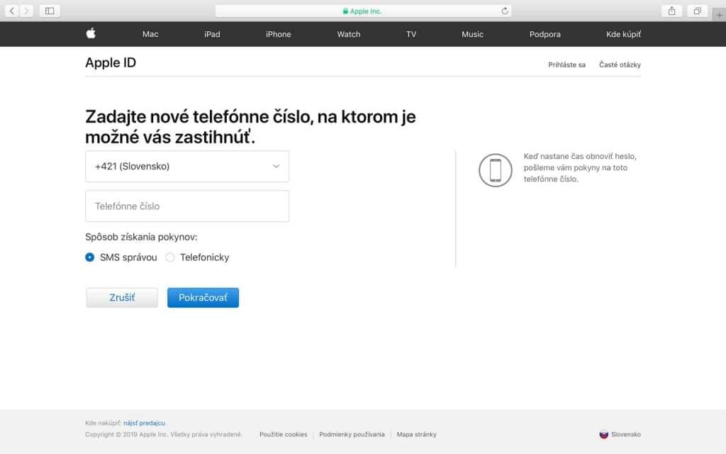 Zabudnuté heslo Apple ID