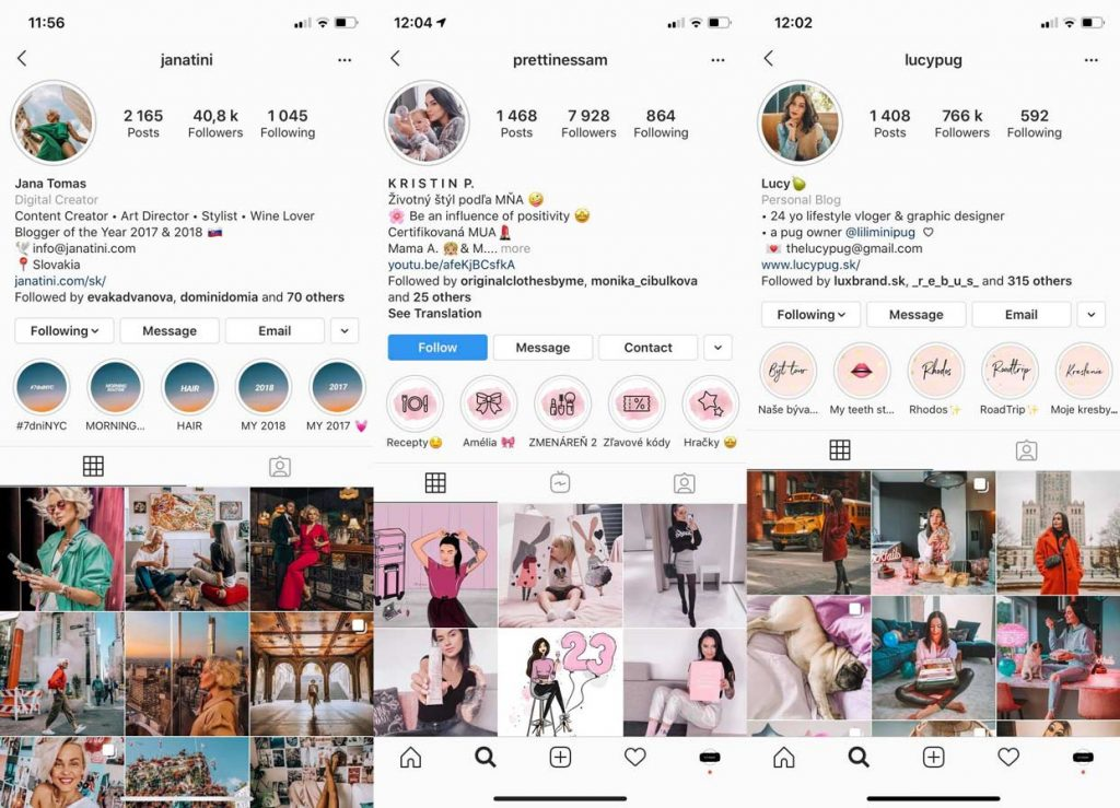Úspešné profily na Slovenskom Instagrame