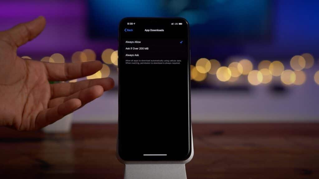 Vypnutie limitu pre sťahovanie aplikácii cez mobilné dáta