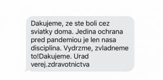 Slovensko ďakuje za to, že ste ostali cez sviatky doma prostredníctvom SMS.