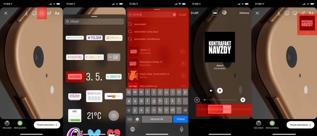2. Ako pridať hudbu do Instagram priamo v appke.