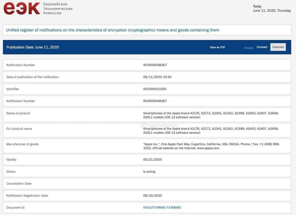Apple zaregistrovalo v datábáze Euroázijskej ekonomickej komisie 9 nových iPhonov.