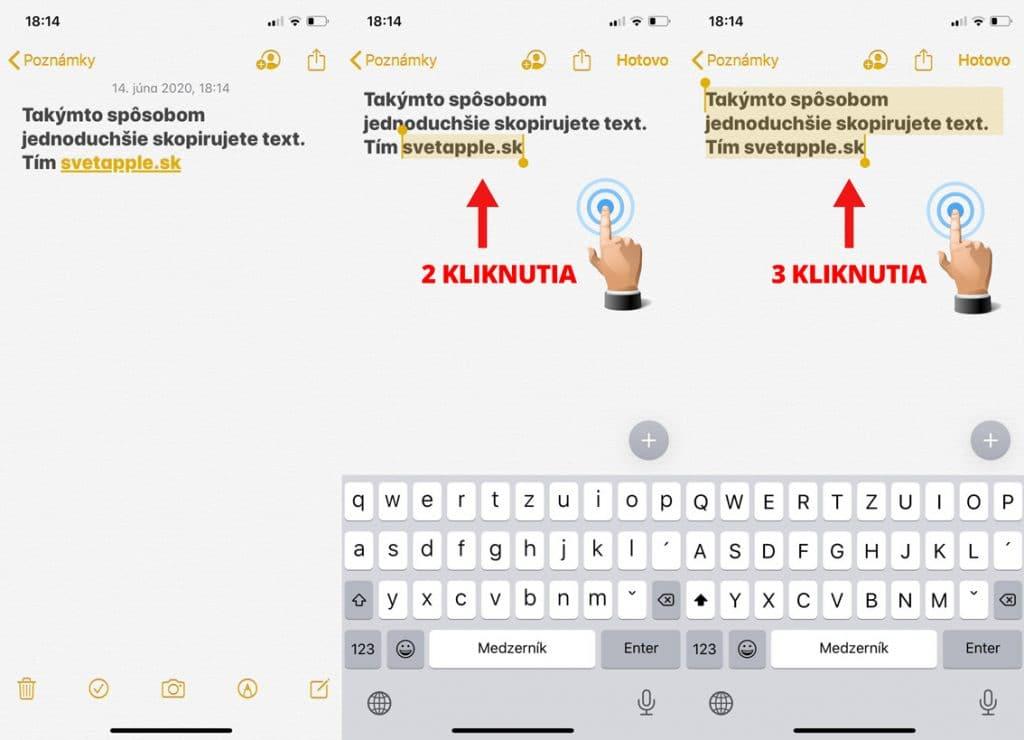 """Návod: Používajte gesta pre funkciu """"kopírovať a prilepiť"""" na vašom iPhone."""