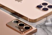 Zlatý iPhone 12 Pro Max vs. bronzový Samsung Galaxy Note 20 Ultra.