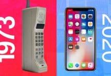 Evolúcia mobilných zariadení od roku 1973 do roku 2020