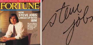 Steve Jobs a jeho podpis na časopise Fortune z roku 1989