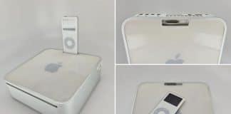 Macu mini s dokovacou stanicou pre iPod nano