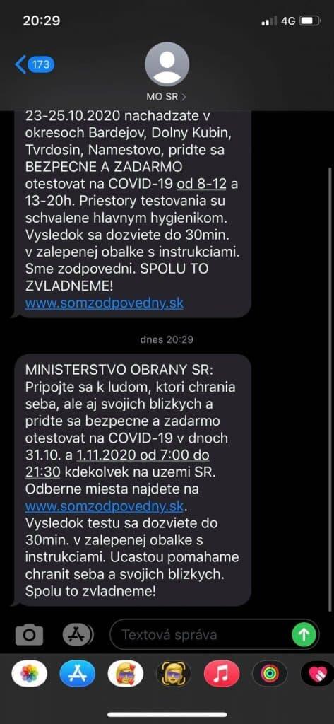 Ministerstvo obrany Slovenskej republiky rozosiela SMS súvisiacu s plošným testovaním.