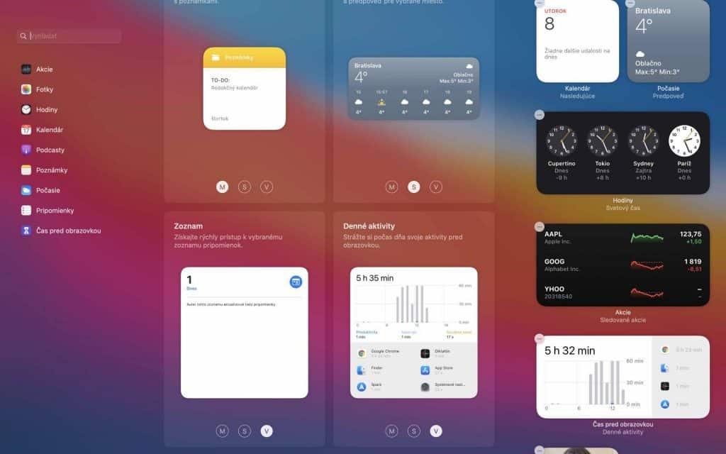 Zmena veľkosti widgetov macos big sur