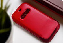 Púzdro Leather Sleeve pre iPhone 12 naživo