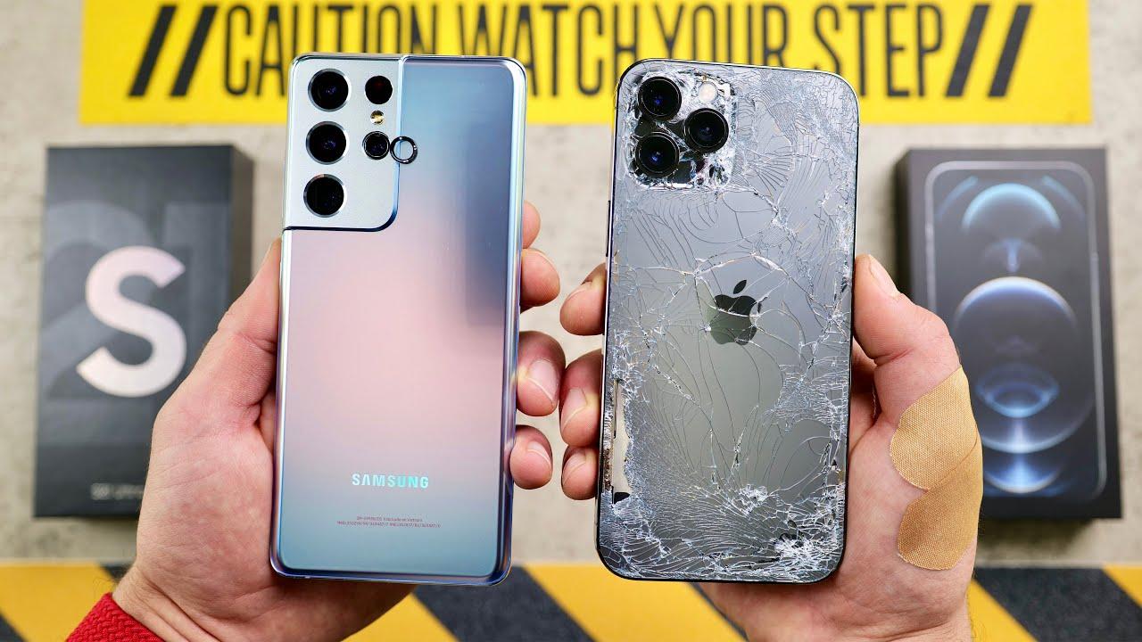 Samsung Galaxy S21 Ultra vs iPhone 12 Pro Max v teste odolnosti. Ktorý vyhral?