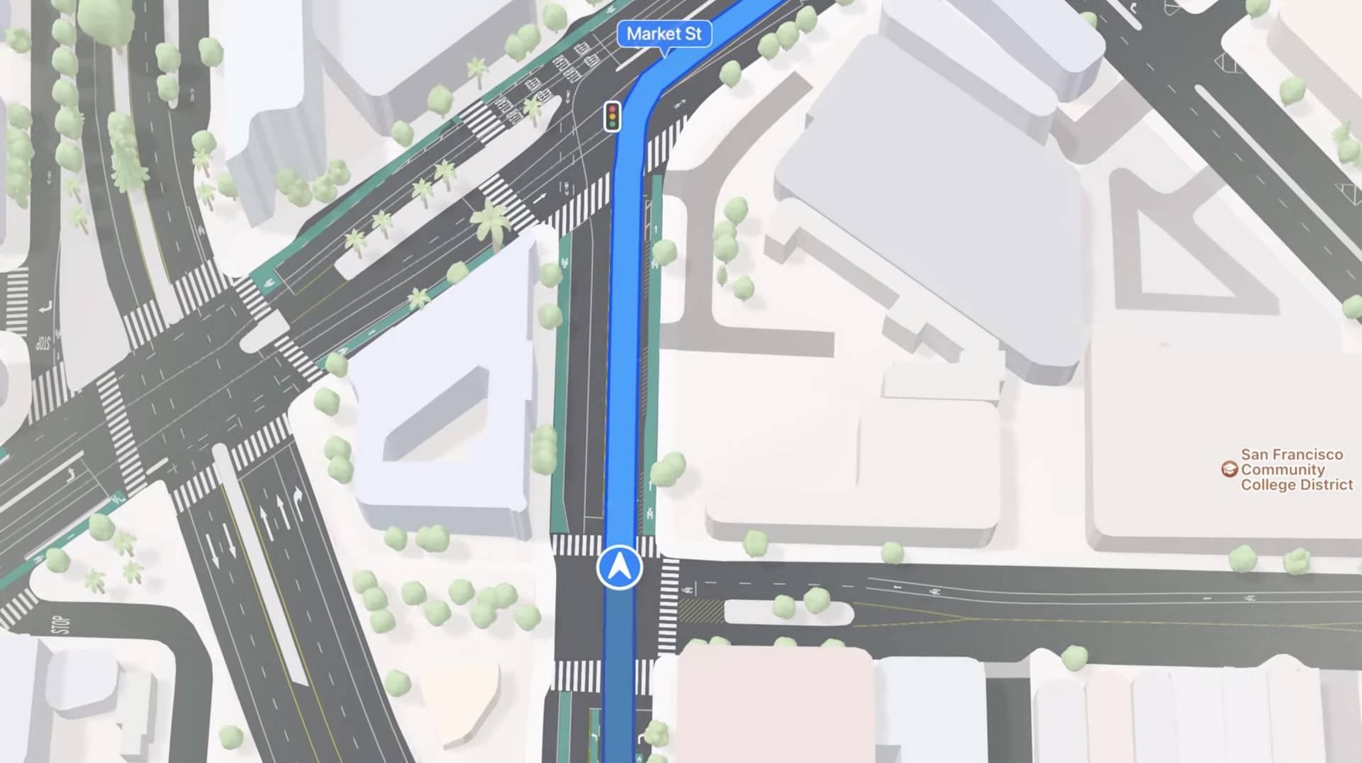 Novinky v Apple Maps - svetelné križovatky a prechody pre chodcov - WWDC 2021