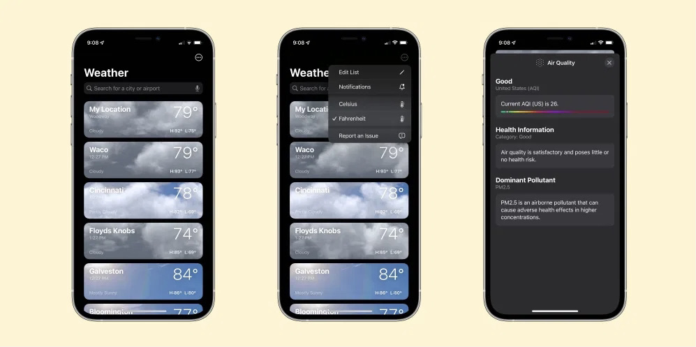 iOS 15 počasie